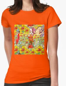 The Colourful Garden and Fairy  Womens Fitted T-Shirt