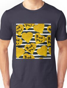 gold hand-drawn hearts with description thank you on black watercolor stripes Unisex T-Shirt
