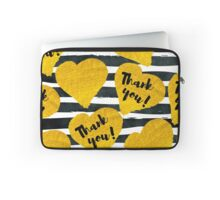 gold hand-drawn hearts with description thank you on black watercolor stripes Laptop Sleeve