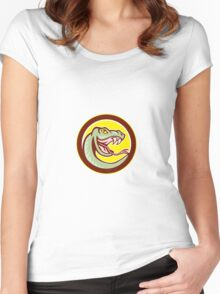 Rattle Snake Head Circle Cartoon Women's Fitted Scoop T-Shirt
