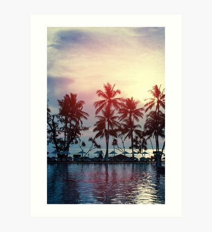 Sunset at a coastline with palm trees Art Print