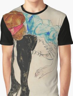 Egon Schiele - Blond Girl, Leaning forward with Black Stockings (1912)  Graphic T-Shirt