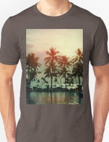 Sunset at a coastline with palm trees Unisex T-Shirt