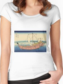 Hokusai Katsushika - The Kazusa Province sea route Women's Fitted Scoop T-Shirt