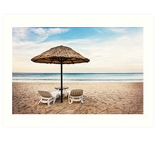 Seascape with two chaise longues Art Print