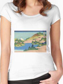 Hokusai Katsushika - The lake of Hakone in Sagami Province Women's Fitted Scoop T-Shirt