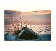 Awesome wave with splashes  Art Print