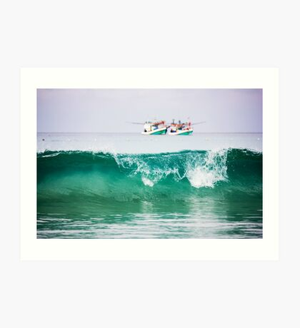 Seascape with two boats on horizon Art Print