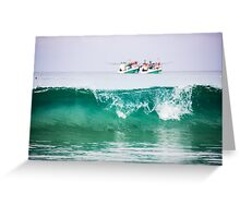Seascape with two boats on horizon Greeting Card