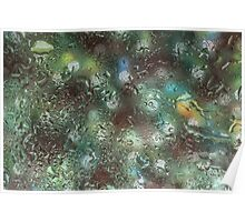 Water droplets on glass Poster
