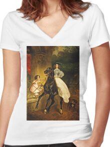 Karl Bryullov (Bryullo) - A Rider (1832)  Women's Fitted V-Neck T-Shirt