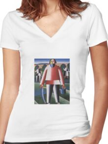 Kazemir Malevich - Haymaking 1929 Women's Fitted V-Neck T-Shirt