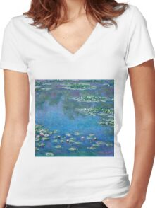 Claude Monet - Water Lilies (1906)  Women's Fitted V-Neck T-Shirt