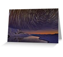 Star Trails over Frozen Lake Greeting Card