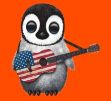 Baby Penguin Playing American Flag Guitar Red Kids Clothes