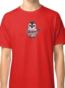 Baby Penguin Playing American Flag Guitar Red Classic T-Shirt