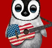Baby Penguin Playing American Flag Guitar Red by Jeff Bartels