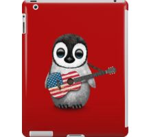 Baby Penguin Playing American Flag Guitar Red iPad Case/Skin