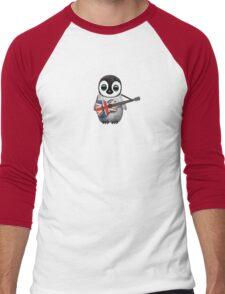 Baby Penguin Playing British Flag Guitar Red Men's Baseball ¾ T-Shirt