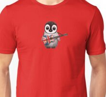 Baby Penguin Playing British Flag Guitar Red Unisex T-Shirt