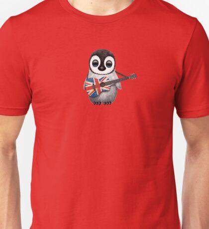 Baby Penguin Playing British Flag Guitar Red Unisex T-Shirt