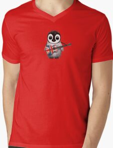Baby Penguin Playing British Flag Guitar Red Mens V-Neck T-Shirt