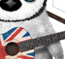 Baby Penguin Playing British Flag Guitar Red Sticker