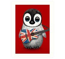 Baby Penguin Playing British Flag Guitar Red Art Print