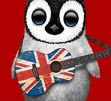 Baby Penguin Playing British Flag Guitar Red by Jeff Bartels