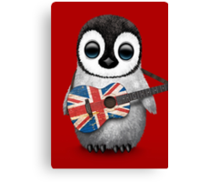 Baby Penguin Playing British Flag Guitar Red Canvas Print
