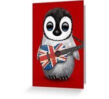 Baby Penguin Playing British Flag Guitar Red Greeting Card