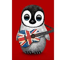 Baby Penguin Playing British Flag Guitar Red Photographic Print