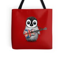 Baby Penguin Playing British Flag Guitar Red Tote Bag