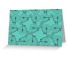 Penny Farthing Teal Greeting Card