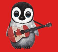 Baby Penguin Playing Canadian Flag Guitar Red Kids Tee