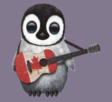 Baby Penguin Playing Canadian Flag Guitar Red Kids Clothes