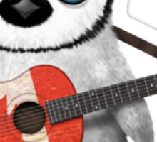 Baby Penguin Playing Canadian Flag Guitar Red Sticker