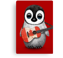 Baby Penguin Playing Canadian Flag Guitar Red Canvas Print
