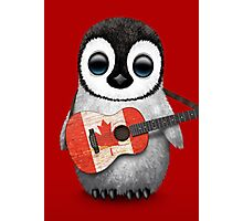 Baby Penguin Playing Canadian Flag Guitar Red Photographic Print