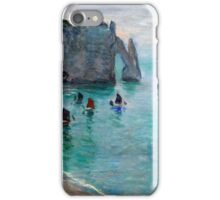Claude Monet - Etretat The Aval Door Fishing Boats Leaving The Harbour iPhone Case/Skin