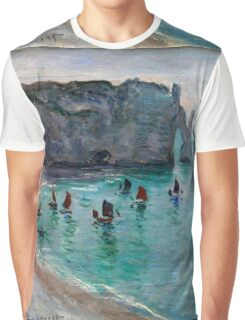 Claude Monet - Etretat The Aval Door Fishing Boats Leaving The Harbour Graphic T-Shirt