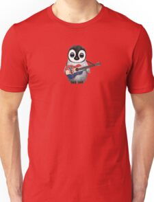 Baby Penguin Playing Croatian Flag Guitar Red Unisex T-Shirt