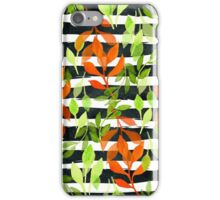 Watercolor leaves semless pattern on black watercolor stripes iPhone Case/Skin