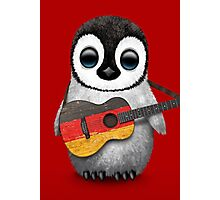 Baby Penguin Playing German Flag Guitar Red Photographic Print