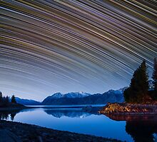 Calm Mountain Lake startrails by focuscreative