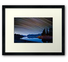 Calm Mountain Lake startrails Framed Print