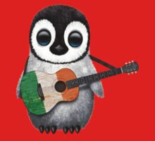 Baby Penguin Playing Irish Flag Guitar Red T-Shirt