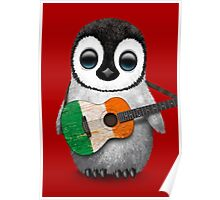 Baby Penguin Playing Irish Flag Guitar Red Poster