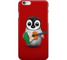 Baby Penguin Playing Irish Flag Guitar Red iPhone Case/Skin