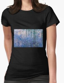 Claude Monet - The Water Lilies - Morning with Willows (1915 - 1926)  Womens Fitted T-Shirt